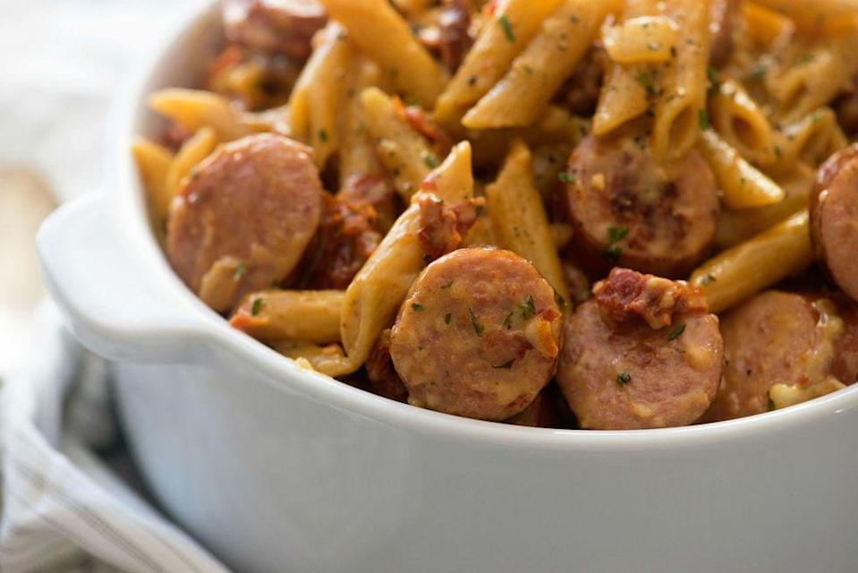 """<p>Regular tomato sauce won't taste the same after this.</p><p>Get the <a href=""""https://www.delish.com/cooking/recipe-ideas/recipes/a52151/sun-dried-tomato-sausage-pasta-recipe/"""" rel=""""nofollow noopener"""" target=""""_blank"""" data-ylk=""""slk:Sun-Dried Tomato & Sausage Pasta"""" class=""""link rapid-noclick-resp"""">Sun-Dried Tomato & Sausage Pasta</a> recipe.</p>"""