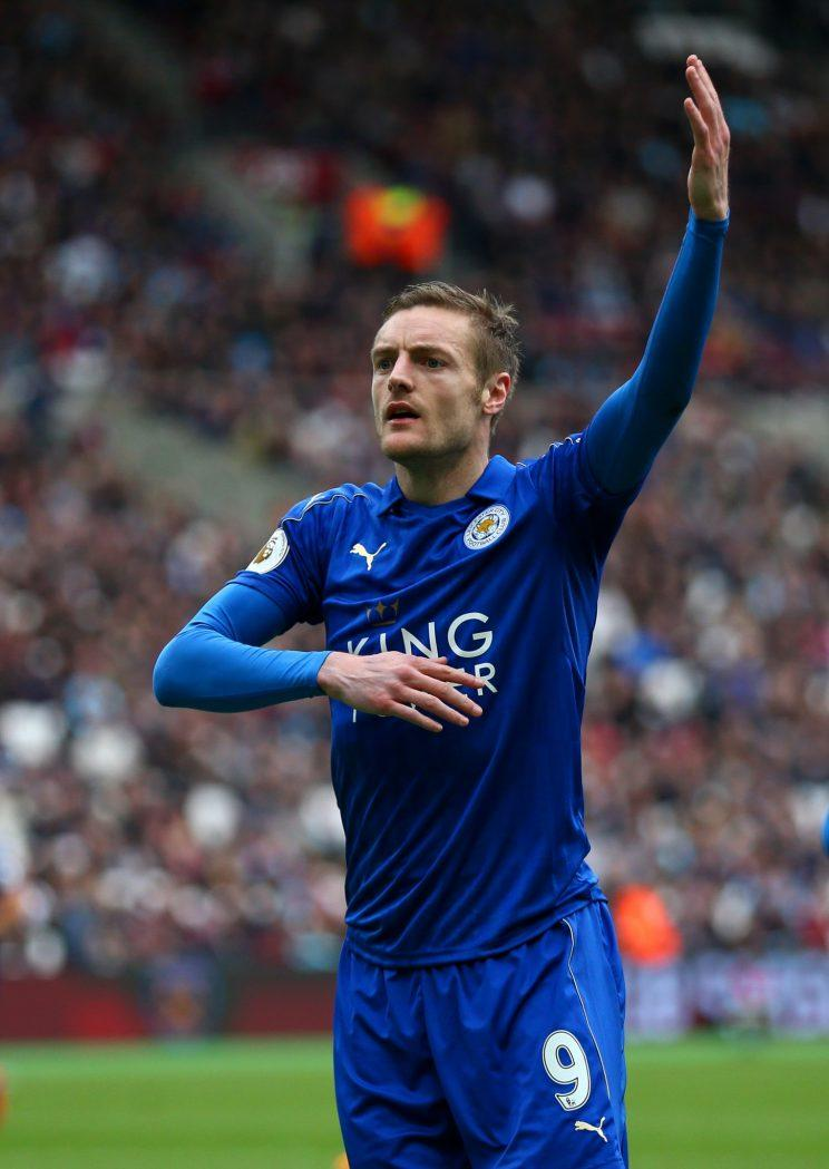 Jamie Vardy celebrates having scored Leicester's third at West Ham