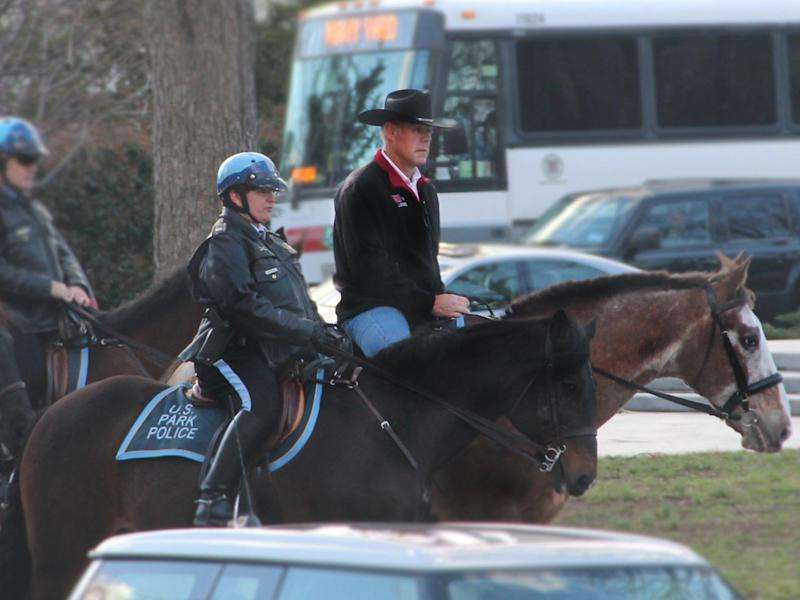 Interior Secretary Ryan Zinke arrives for work on horseback on his first day in the job: @BSEEgov