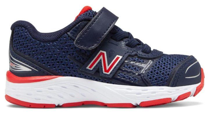 Hook and Loop 680v5 shoe with laces and Velcro blue red and white shoe