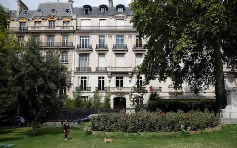 Exterior view of a 5-storey building on Avenue Foch in Paris' 16th district, location of an apartment that belonged to Jeffrey Epstein - Credit: Reuters