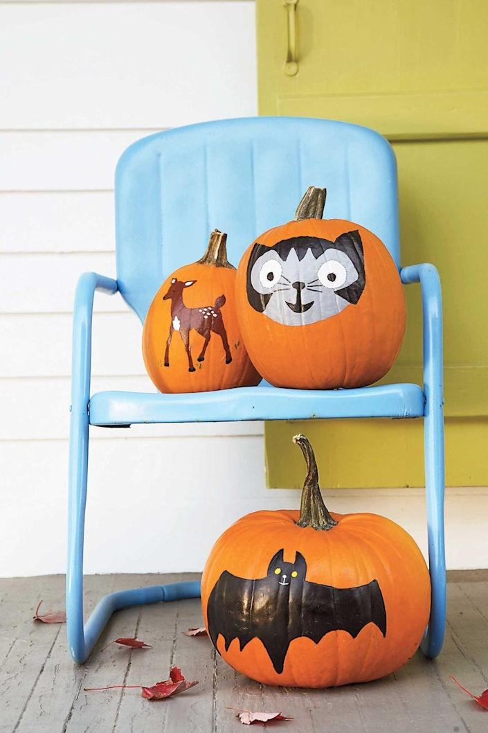 """<p>Exercise your artistic side by painting a picture on your pumpkin. Simply apply washable poster paints to a clean pumpkin in your desired design for a decoration you can display all season.</p><p><strong>What you'll need: </strong><a href=""""https://www.amazon.com/Art-Supply-Childrens-Washable-Tempera/dp/B01N99W4Y4/?tag=syn-yahoo-20&ascsubtag=%5Bartid%7C10070.g.1902%5Bsrc%7Cyahoo-us"""" rel=""""nofollow noopener"""" target=""""_blank"""" data-ylk=""""slk:washable poster paints"""" class=""""link rapid-noclick-resp"""">washable poster paints</a> ($19, amazon.com)</p>"""
