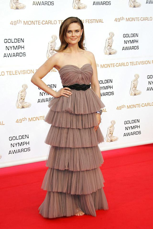"""Emily Deschanel arrived in style at the closing ceremony for the 49th Annual Monte Carlo TV Festival. The """"Bones"""" beauty oozed glamor in a tiered tulle Gustavo Cadile creation. Tony Barson/<a href=""""http://www.wireimage.com"""" target=""""new"""">WireImage.com</a> - June 11, 2009"""
