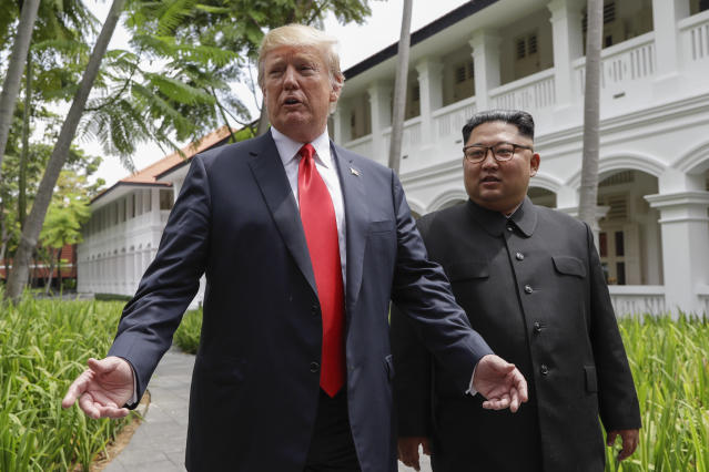 Donald Trump and Kim Jong Un met in Singapore on Tuesday. (Photo: Evan Vucci/AP)