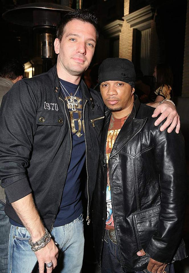 "Former boy bander JC Chasez hugs it out with his current ""Dance Crew"" costar Shane Sparks. Alexandra Wyman/<a href=""http://www.wireimage.com"" target=""new"">WireImage.com</a> - May 21, 2008"