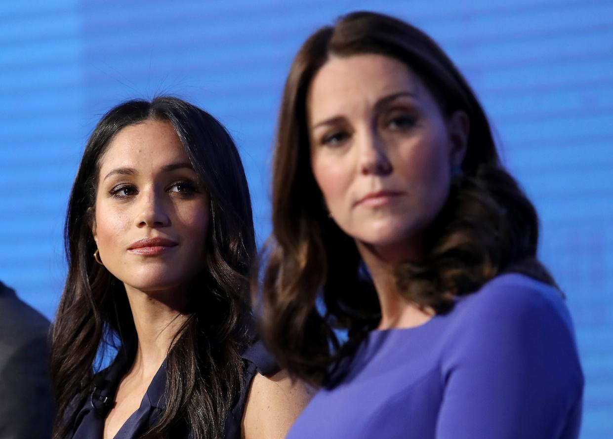 Meghan Markle and Kate Middleton, Duchess of Cambridge, attend the first annual Royal Foundation Forum