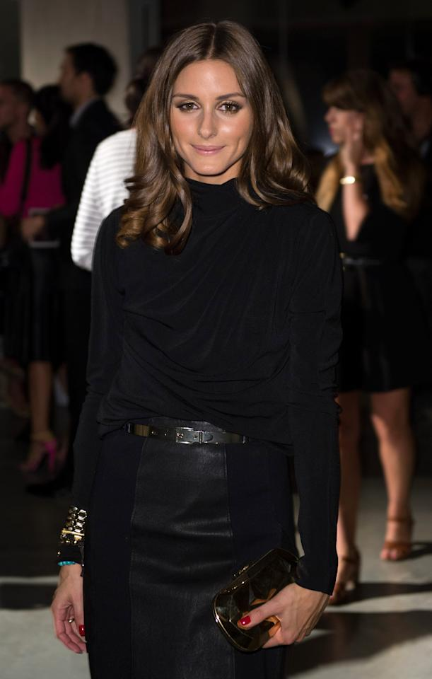 LONDON, ENGLAND - SEPTEMBER 16: Olivia Palermo attends the front row for the Jonathan Saunders show on day 3 of London Fashion Week Spring/Summer 2013, at the Tate Modern on September 16, 2012 in London, England. (Photo by Ian Gavan/Getty Images)