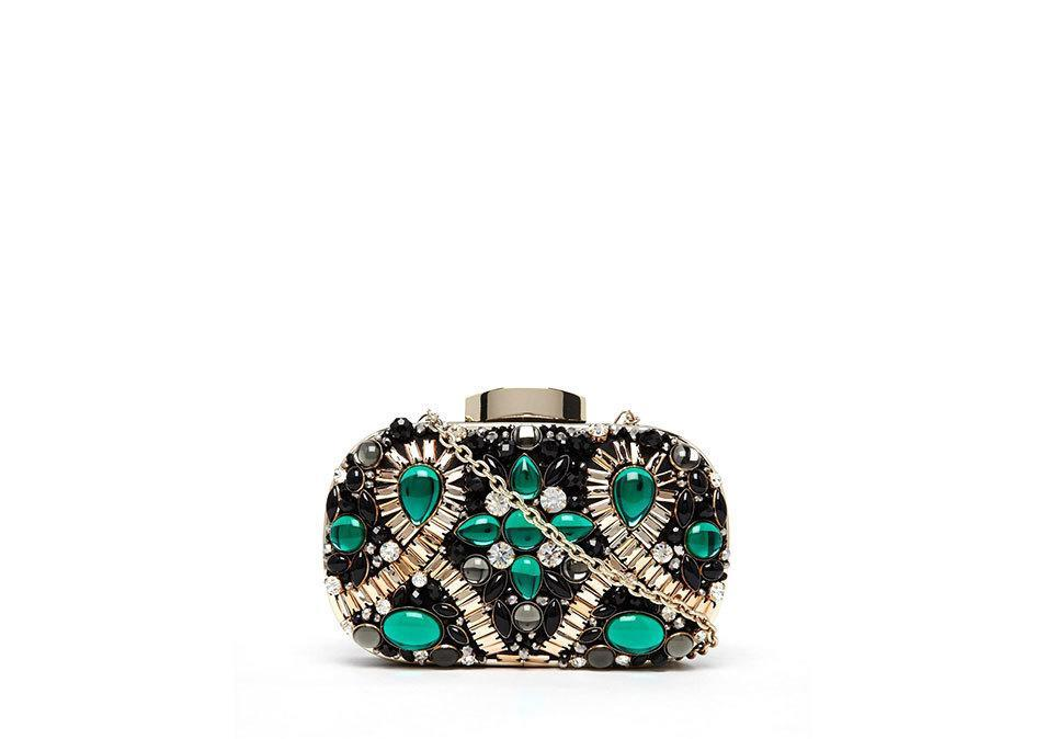 "<p>Aldo Box Clutch with Emerald Green Embellishment, $90,<a href=""http://www.asos.com/ALDO/ALDO-Box-Clutch-With-Emerald-Green-Embellishment/Prod/pgeproduct.aspx?iid=5748500&cid=8730&sh=0&pge=1&pgesize=204&sort=-1&clr=Emerald+black+combo&totalstyles=521&gridsize=3"" rel=""nofollow noopener"" target=""_blank"" data-ylk=""slk:asos.com"" class=""link rapid-noclick-resp""> asos.com </a></p>"