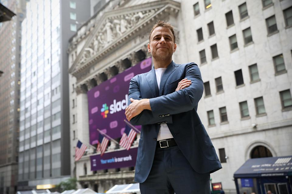 Slack Technologies Inc. co-founder and CEO Stewart Butterfield poses outside the New York Stock Exchange (NYSE) during thew company's IPO in New York, U.S. June 20, 2019. REUTERS/Brendan McDermid