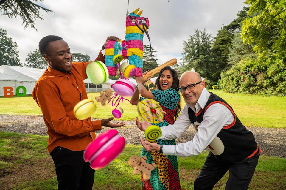 Liam Charles, Ravneet Gill and Harry Hill on Junior Bake Off (C4)
