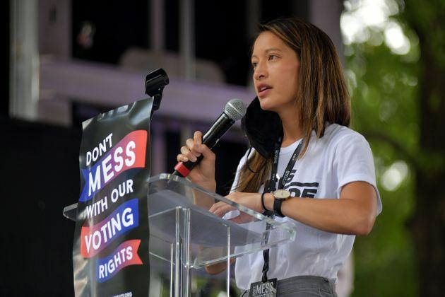 Georgia state Rep. Bee Nguyen speaks at the March On For Voting Rights at The King Center on Aug. 28 in Atlanta. Nguyen is part of a group of local and state Democrats trying to counter the GOP's efforts to restrict voting access. (Photo: Derek White via Getty Images)