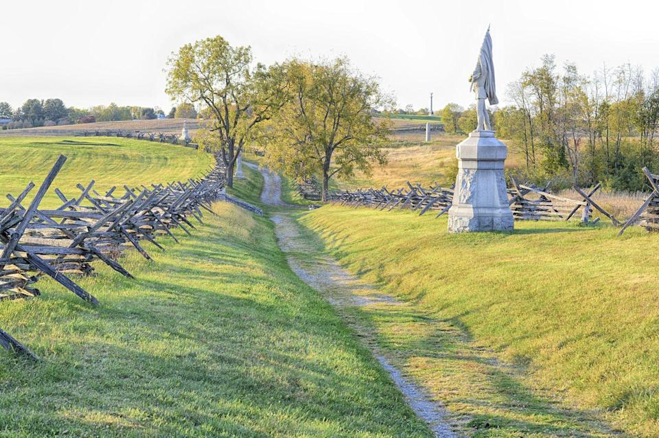 """<p><a href=""""https://www.nps.gov/anti/index.htm"""" rel=""""nofollow noopener"""" target=""""_blank"""" data-ylk=""""slk:Antietam National Battlefield"""" class=""""link rapid-noclick-resp""""><strong>Antietam National Battlefield </strong></a></p><p>In this tragic spot, 23,000 soldiers were killed or wounded in the span of one awful day during the midst of the Civil War. Bring tissues. </p>"""