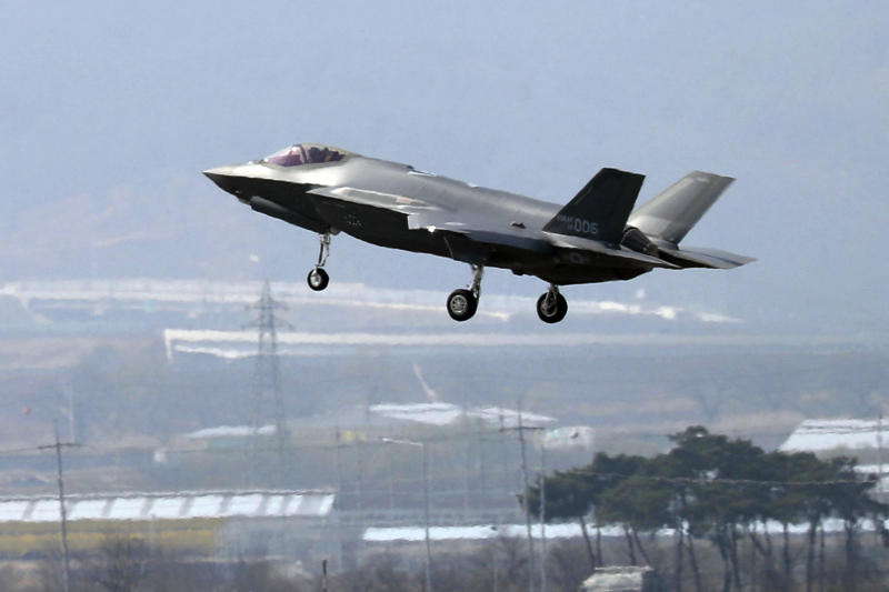 "FILE - In this March 29, 2019, photo, a U.S. F-35A fighter jet prepares to land at Chungju Air Base in Chungju, South Korea. The White House says Turkey can no longer be part of the American F-35 fighter jet program. In a written statement, the White House said Wednesday that Turkey's decision to buy the Russian S-400 air defense system ""renders its continued involvement with the F-35 impossible."" (Kang Jong-min/Newsis via AP)"