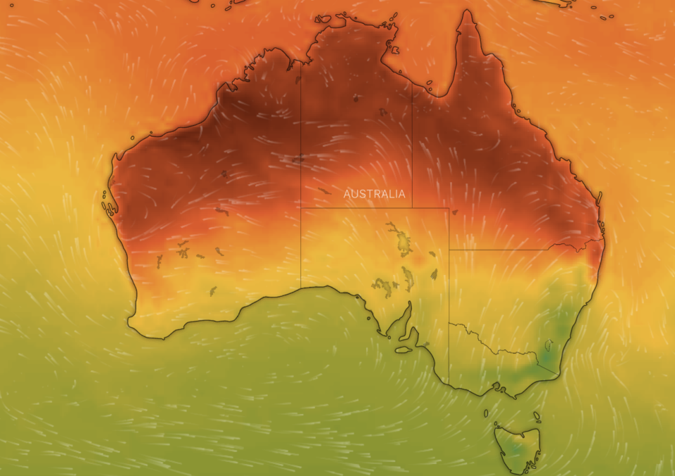 A weather map from Windy.com shows Australia's northern parts undergoing a significant increase in temperature on Thursday.