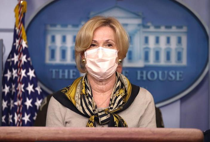 <p>Dr Deborah Birx speaks during a White House coronavirus task force press briefing in November</p> (Getty Images)