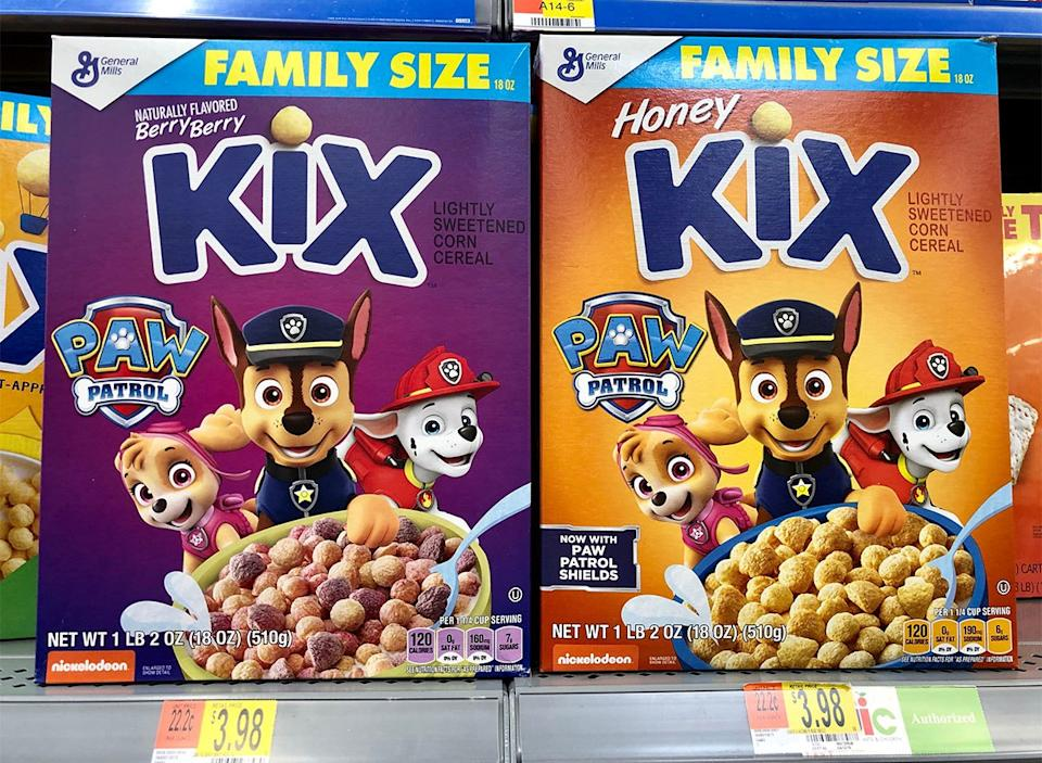 boxes of paw patrol kix cereal on store shelves