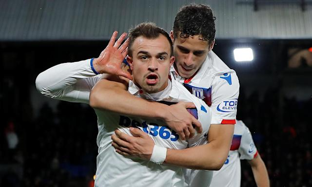 Xherdan Shaqiri, here with Stoke's Ramadan Sobhi, was close to joining Liverpool in 2014.