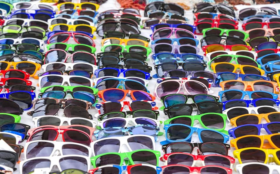 Table of Cheap Sunglasses {Checkout Counter}