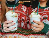 <p>You'll either love it or hate it. On Thursday, Starbucks released this festive drink, featuring a hazelnut creme Frappuccino with dried fruit and spicy cinnamon, topped with whipped cream and garnished with caramel dots and a sprinkle of matcha. [Photo: Starbucks] </p>