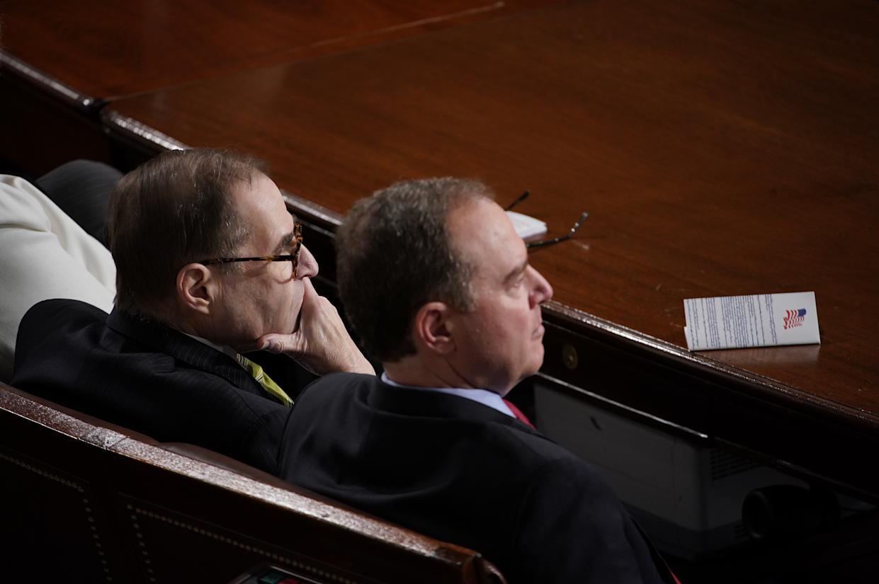 Representative Adam Schiff, a Democrat from California, right, and Representative Jerrold Nadler, a Democrat from New York, listen as U.S. President Donald Trump, not pictured, delivers a State of the Union address to a joint session of Congress at the U.S. Capitol in Washington, D.C., U.S., on Tuesday, Feb. 4, 2020. (Al Drago/Bloomberg via Getty Images)