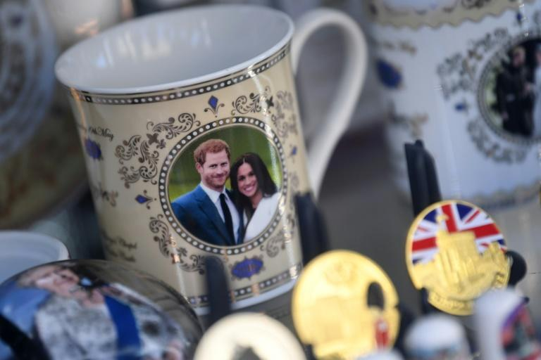 Royal memorabilia featuring Britain's Prince Harry, Duke of Sussex, and Meghan, Duchess of Sussex is displayed in a souvenir shop in Windsor, west of London