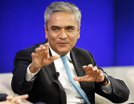Deutsche Bank Co-chief Executive Jain speaks during a session at the World Economic Forum (WEF) in Davos