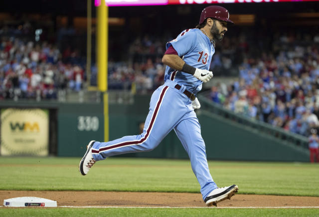 Philadelphia Phillies' Sean Rodriguez rounds the bases after hitting a home run during the second inning of a baseball game against the Miami Marlins, Thursday, April 25, 2019, in Philadelphia. (AP Photo/Chris Szagola)