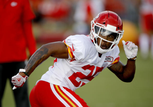 FILE - In this Saturday, July 28, 2018 file photo, Kansas City Chiefs safety Armani Watts runs during NFL football training camp in St. Joseph, Mo. The Chiefs placed right guard Laurent Duvernay-Tardif and safety Armani Watts on injured reserve Tuesday, Oct. 9, 2018 and signed outside linebacker Frank Zombo to provide depth at that depleted position. (AP Photo/Charlie Riedel, File)