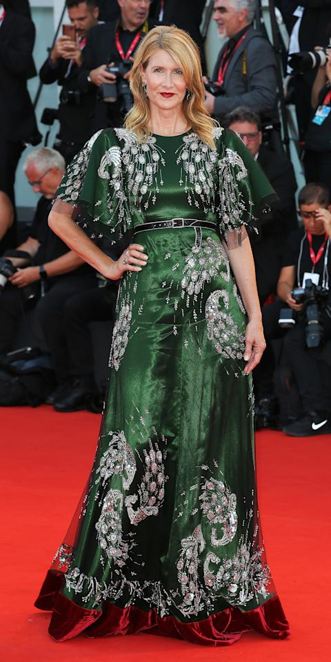 """<p>At the Venice Film Festival, Laura Dern wowed in a <a href=""""https://click.linksynergy.com/deeplink?id=93xLBvPhAeE&mid=24449&murl=https%3A%2F%2Fwww.net-a-porter.com%2Fus%2Fen%2FShop%2FSearch%3Fkeywords%3Dgucci%26termUsed%3Dgucci&u1=IS%2CLauraDern%2Canesta%2C%2CIMA%2C3475431%2C201908%2CI"""" target=""""_blank"""">Gucci</a> peacock gown and Buccellati jewelry.</p>"""