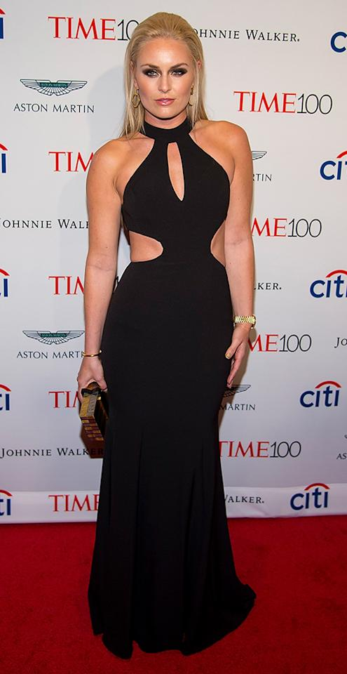 <p>The Olympic skier really vamped things up for the Time 100 Gala in NYC in a black gown featuring ab cutouts that allowed her to show off her incredibly toned bod. Vonn wore her blond hair down for the occasion and completed her sexy look with smoldering smoky eyes. Va va voom! (Photo: Michael Stewart/Getty Images) </p>