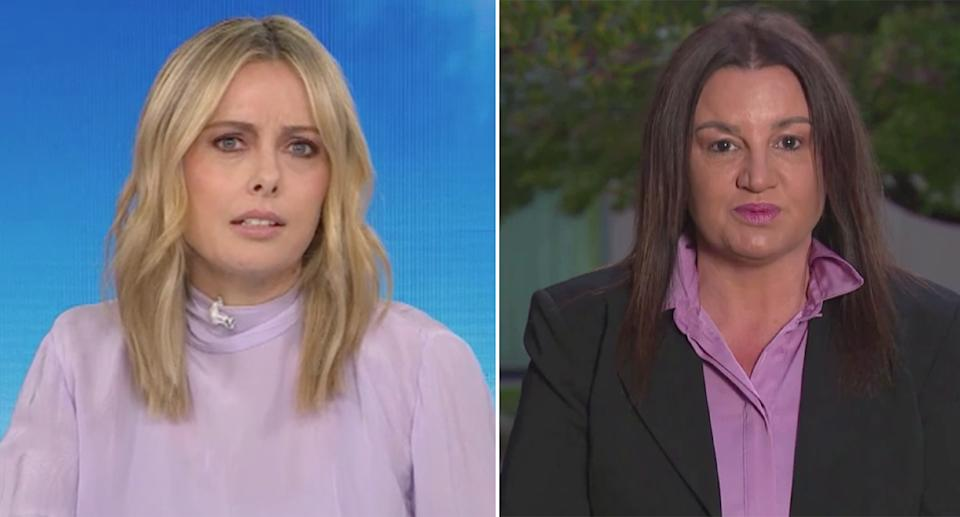 Ally Langdon, left, and Jacqui Lambie, right, on the Today show.