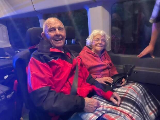 Brian and Evelyn Watt were rescued by a Hutterian volunteer team after being stuck overnight in the southern Manitoba bush.  (HEART Team/Facebook  - image credit)