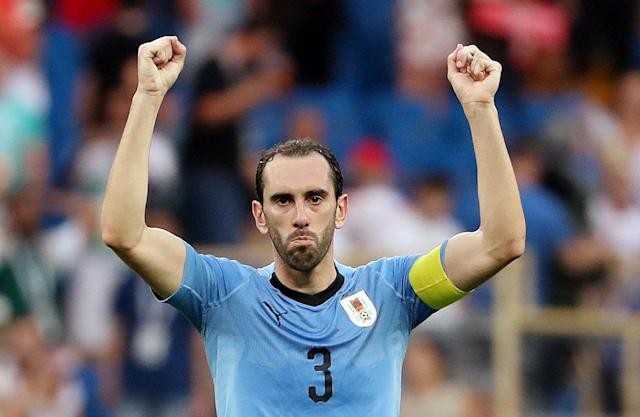 Soccer Football - World Cup - Group A - Uruguay vs Saudi Arabia - Rostov Arena, Rostov-on-Don, Russia - June 20, 2018 Uruguay's Diego Godin celebrates after the match REUTERS/Marko Djurica