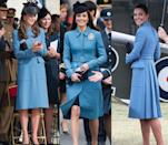 <p>Kate Middleton has worn this cornflower blue Alexander McQueen coat three times. She first sported the topper in April 2014 and again in June of that year, but brought the look back in February 2016. </p>