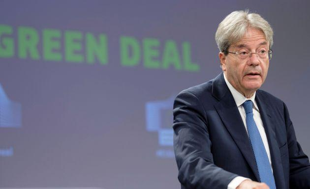 BRUSSELS, BELGIUM - JULY 15: EU Commissioner for Economy Paolo Gentiloni is talking to media in the Berlaymont building, the EU Commission headquarter on July 15, 2021 in Brussels, Belgium. EU Commissioners talked about the carbon border adjustment mechanism and the energy taxation. (Photo by Thierry Monasse/Getty Images) (Photo: Thierry Monasse via Getty Images)