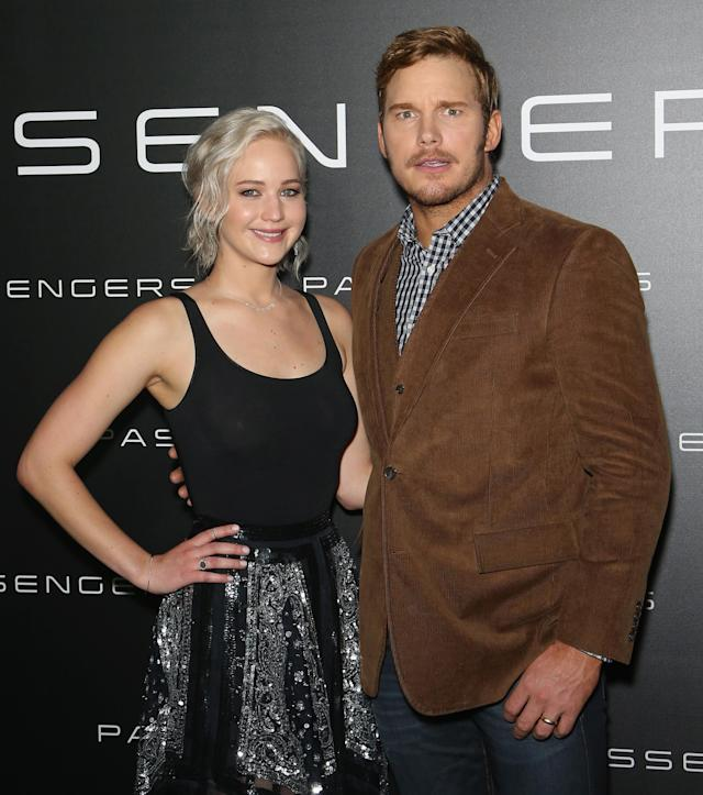 """<p>Lawrence appears at the exhibitors' convention in Las Vegas with <a href=""""https://www.yahoo.com/entertainment/tagged/chris-pratt"""" data-ylk=""""slk:Chris Pratt"""" class=""""link rapid-noclick-resp"""">Chris Pratt</a>, her co-star in the sci-fi drama <i><a href=""""https://www.yahoo.com/entertainment/film/passengers"""" data-ylk=""""slk:Passengers"""" class=""""link rapid-noclick-resp"""">Passengers</a>. </i> (Photo: Getty Images) </p>"""