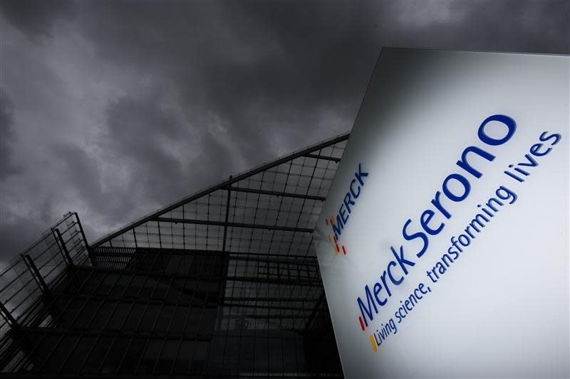 A logo of bio pharmaceutical company Merck Serono SA is pictured outside the company headquarters in Geneva, in this April 24, 2012 file photo. REUTERS/Valentin Flauraud/Files