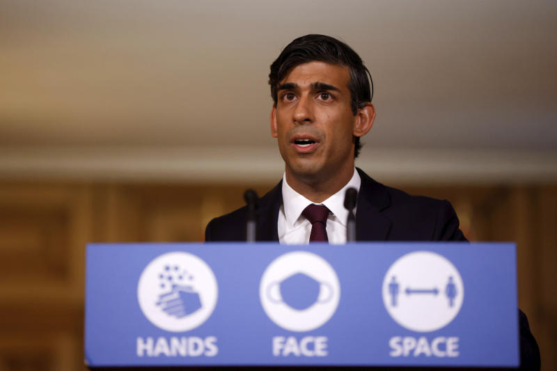 Britain's Chancellor of the Exchequer Rishi Sunak holds a virtual news conference in Downing Street, London, Thursday Sept. 24, 2020. Britain's treasury chief has announced a new income support program for workers hurt by the coronavirus pandemic as the government races to prevent widespread layoffs when earlier employer subsidies end next month. (John Sibley/Pool via AP)