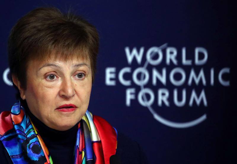 IMF Managing Director Kristalina Georgieva speaks at a news conference ahead of the World Economic Forum (WEF) in Davos, Switzerland January 20, 2020. REUTERS/Denis Balibouse
