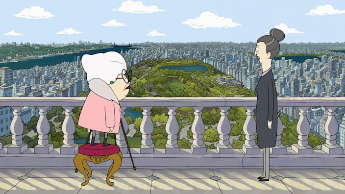 """Bitsy, voiced by Stanley Tucci, left, and Helen, voiced by Daveed Diggs, in Apple TV+ animated series """"Central Park."""""""