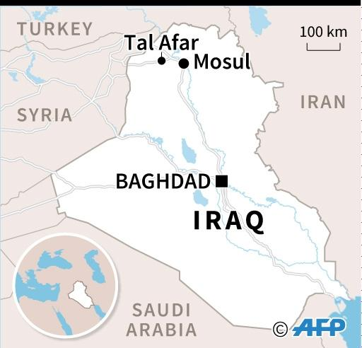 Map of Iraq locating Tal Afar, with roads linking the strategic town to Mosul and Syria (AFP Photo/Iris ROYER DE VERICOURT)