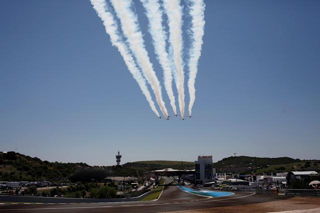 Motorcycle Racing - MotoGP - Spanish Grand Prix - Circuito de Jerez - Angel Nieto, Jerez de la Frontera, Spain - May 6, 2018 Casa C-101 Aviojets from the Spanish Air Force aerobatic group Patrulla Aguila (Eagle Patrol) during a display before the MotoGP race REUTERS/Jon Nazca