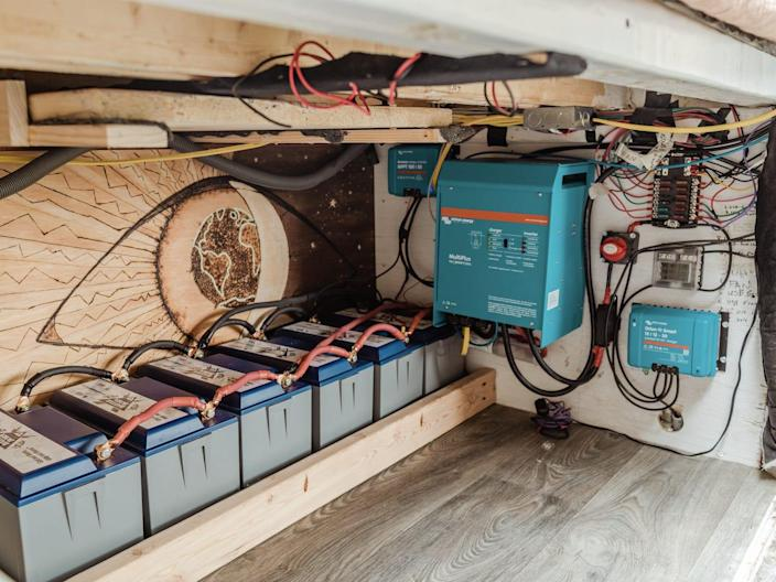 electrical gear under the bed in the back of the van
