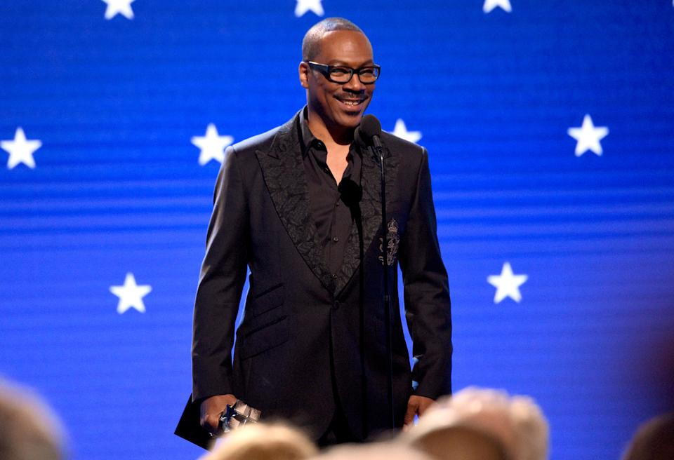 "Eddie Murphy (pictured at the Critics' Choice Awards in January) won his first Emmy on Saturday — but doesn't think it's a good time for ""comedic commentary."" (Photo: Kevin Mazur/Getty Images for Critics Choice Association)"