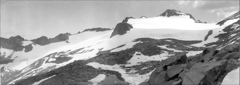 In this Aug. 7, 1903 photo from the U.S. Geological Survey is Lyell Glacier in Yosemite National Park. In parts of California's Sierra Nevada, the incursion of trees is sucking marshy meadows dry. Glaciers are melting into mere ice fields. Wildflowers are blooming earlier. And the optimal temperature zone for Giant Sequoias is predicted to rise several thousand feet higher, leaving existing trees at risk of dying over the next 100 years. As the climate warms, scientists studying one of the largest swaths of wilderness in the Continental U.S. are noting changes across national parks, national forests and 3.7 million acres of federally protected wilderness areas that are a living laboratory. (AP Photo/U.S. Geological Survey, G.K. Gilbert)