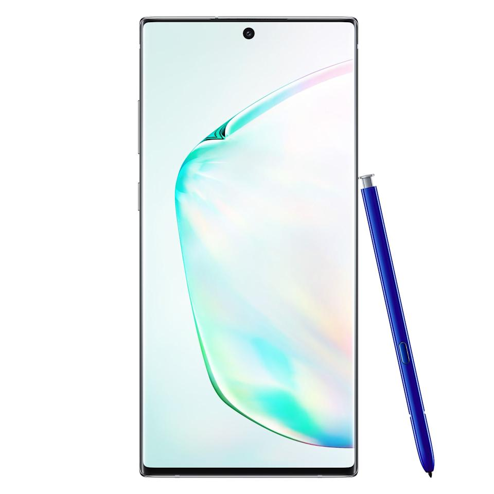 """<p><strong>Samsung</strong></p><p>amazon.com</p><p><strong>$949.99</strong></p><p><a href=""""http://www.amazon.com/dp/B07V6NJWH7/?tag=syn-yahoo-20&ascsubtag=%5Bartid%7C2089.g.158%5Bsrc%7Cyahoo-us"""" target=""""_blank"""">Shop Now</a></p><p>The Galaxy Note10 and the Galaxy Note10+ are Samsung's most powerful, most feature-packed smartphones to date. Like all Note products that precede them, the duo of range-topping Galaxy phones are defined by their S Pen stylus, as well as their massive display panels. Both of them have ditched the audio jack and the Bixby button that their predecessors had.</p><p>It's worth noting that, in addition to a bigger screen with higher resolution, the Note10+ also comes with a desktop computer-worthy 12 GB of RAM. The bigger Note is also equipped with a larger battery.</p><p>The S Pen stylus of the new Galaxy Note phones is better than ever. Equipped with Bluetooth connectivity, the built-in accessory can perform a host of useful tasks. It can even allow you to channel your inner Harry Potter by opening apps and playing games with gesture controls.</p><p>Unsurprisingly, the Galaxy Note and the Galaxy Note10+ have <a href=""""https://news.samsung.com/global/samsung-galaxy-note10-plus-5g-earns-first-place-distinction-in-dxomarks-selfie-camera-rear-cameras-and-video-rankings"""" target=""""_blank"""">superb front- and rear-facing cameras</a>. It's worth noting that the bigger Note has one extra sensor on the back, which is solely tasked with collecting data to enhance your images. The video-recording and editing capabilities of both Note10 variants are also better than ever.</p><p><strong>Chipset:</strong> Qualcomm Snapdragon 855<br><strong>Display:</strong> 6.3-inch FHD+ Infinity Super AMOLED display (Note10),  6.8-inch QHD+ Infinity Super AMOLED display (Note10+)<br><strong>Camera: </strong>Triple camera with 12MP main, 12 MP telephoto, 16 MP wide-angle; 10MP selfie camera<br><strong>Memory: </strong>8/12 GB of RAM, up to 512 GB of non-expandable storage<br><st"""