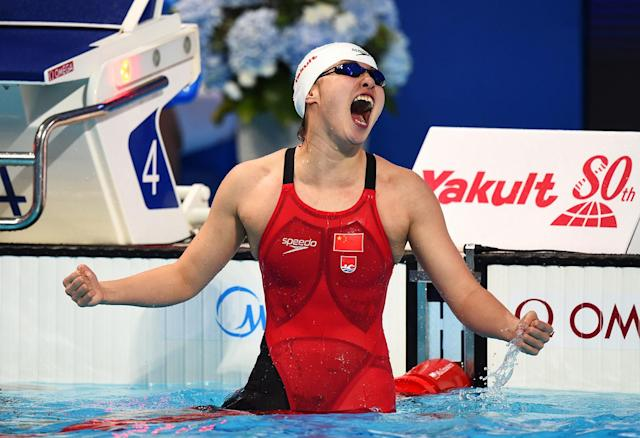 <p>Fu Yuanhui of China didn't take the gold in her swimming events, but her priceless reactions throughout the Games make her the most lovable athlete in Rio. In her qualifying heat for the 100-meter backstroke, she thought she didn't make the final. Her contagious enthusiasm wins our vote for gold. (Photo by Matthias Hangst/Getty Images) </p>