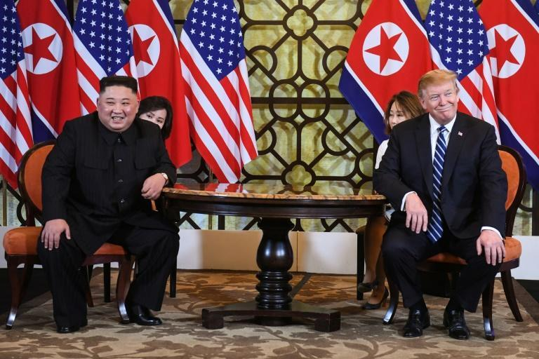 US President Donald Trump and North Korea's leader Kim Jong Un smile at their second summit, which took place in Hanoi. Source: AFP