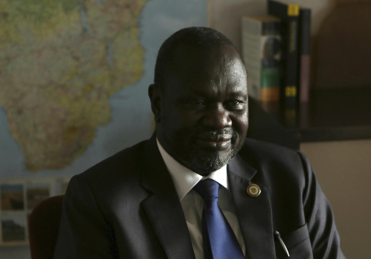 South Sudan rebel leader Riek Machar speaks in an interview with The Associated Press in Johannesburg, on Thursday, Oct. 20, 2016. Machar said a political process is needed to revive a peace deal that has collapsed in his country. (AP Photo/Denis Farrell)