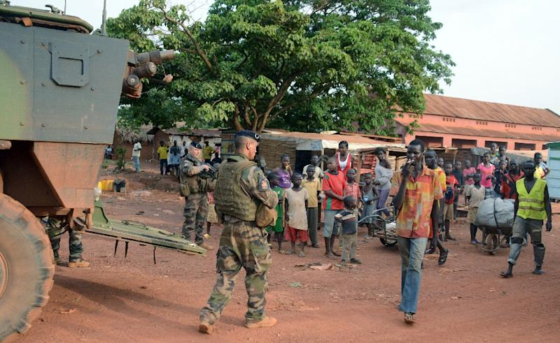 French soldiers patrol the streets of Bangui during 'Operation Sangaris', on May 2, 2015
